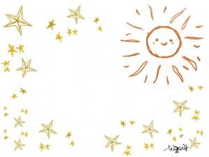 フリー素材:大人可愛いオレンジの太陽とレトロな星の飾り枠;フレーム640×480pix