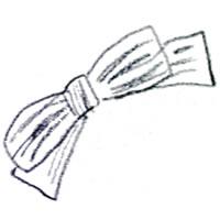 フリー素材:アイコン(twitter);大人可愛い鉛筆画のストライプのりぼんのガーリーイラスト;200pix