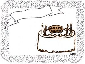 フリー素材:フレーム;スタンプみたいなデザインのお誕生日ケーキとリボンとレースの飾り枠;640×480pix