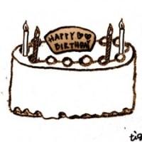 フリー素材:フレーム;大人可愛いお誕生日ケーキのスタンプみたいなデザインのイラスト;640×480pix