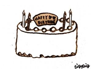 フリー素材フレーム大人可愛いお誕生日ケーキのスタンプみたいな