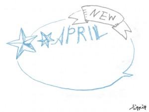 フリー素材:吹出し;大人可愛い手描きの星とAPRILとNEWの文字とふきだし;640×480pix