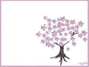 フリー素材:フレーム;大人可愛い桜の木のイラストと枠;640×480pix