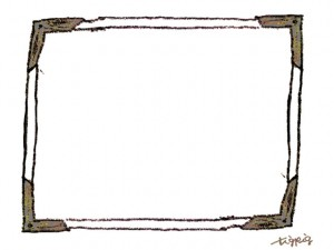 フリー素材:フレーム;シンプルでガーリーなブラウンブラックの木製枠のイラスト;640×480pix