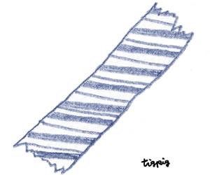 フリー素材:ガーリーイラスト;くすんだブルーの大人可愛い色鉛筆画のストライプのマスキングテープ;300×250pix