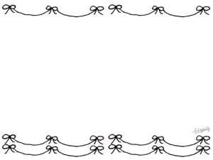 フリー素材:フレーム;モノクロのガーリーなリボンいっぱいの飾り罫;640×480pix