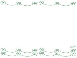 フリー素材:フレーム;シャーベットカラー(ミントグリーン)のリボンのラインの飾り罫;640×480pix