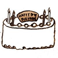 フリー素材:アイコン(twitter):かすれ感がレトロモダンな手描きのお誕生日ケーキ;200×200pix
