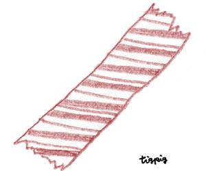 フリー素材:ガーリーイラスト;くすんだ赤色の大人可愛い色鉛筆画のストライプのマスキングテープ;300×250pix