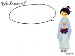 和ガールのフリー素材:ポップ&ガーリーな着物の女の子とwelcomeの手書き文字と吹出し;640×480pix
