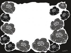 フリー素材:フレーム;北欧ファブリックのようなモノトーンの椿(つばき)の花;640×480pix