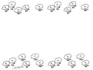 フリー素材:フレーム;北欧風のひな菊いっぱいの花の大人可愛いイラスト;640×480pix