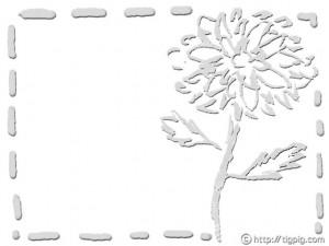 フリー素材:フレーム;北欧風デザインのモノトーンの大人可愛いダリアの花;640×480pix