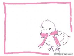 フリー素材:フレーム;森ガール風モノトーンの鉛筆画のひよことピンクのリボンと囲み枠;640×480pix