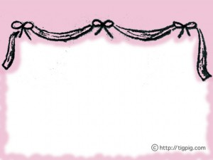 フリー素材:フレーム;モノトーンの鉛筆画のアンティーク風りぼんの飾り枠;640×480pix
