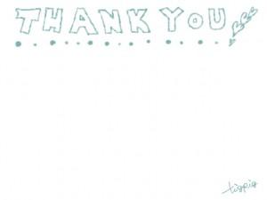 フリー素材:手書き文字;シャーベットカラーのブルーのTHANK YOU;640×480pix
