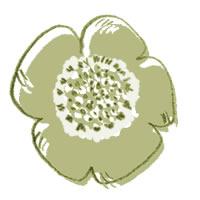 アイコン(twitter)のフリー素材:北欧デザインの版ずれ風の芥子色がレトロなケシの花;200×200pix
