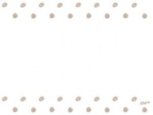 フリー素材:フレーム;大人可愛いシャーベットカラーの栗色の色鉛筆のドットの飾り罫;640×480pix