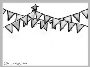 フリー素材:フレーム;大人可愛いモノトーンの旗のイラスト;640×480pix