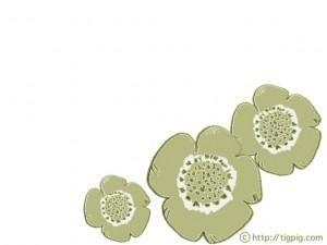 フリー素材:フレーム;北欧風デザインの芥子色のケシの花のイラスト;640×480pix