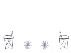 大人可愛いモノトーンの手描きのジュースの夏のイラストのフリー素材;640×480pix