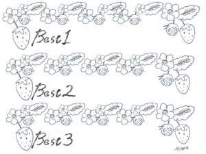 北欧風のモノトーンのイチゴの飾り罫とBest1〜Best3の手書き文字のフレーム;640×480pix
