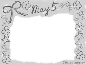 森ガール風モノトーンの鉛筆画のりぼんと花とMay5の手書き文字のフレーム;640×480pix