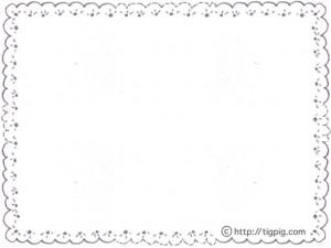 モノトーンの鉛筆画の大人可愛いレースの飾り枠のフリー素材;640×480pix