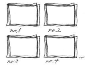 モノトーンのラフなラインの囲み枠と手書き文字(no.1-4)のフリー素材;640×480pix