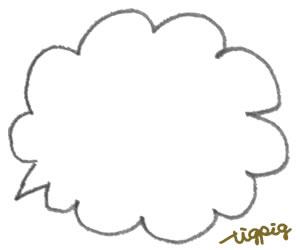 ポップなもこもこの鉛筆描きのフキダシのフリー素材:バナー広告;300×250pix