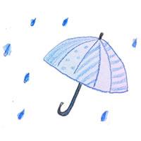 フリー素材:アイコン(twitter);水彩のしずくと傘;200×200pix