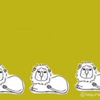 フリー素材:オリーブ色の背景が大人カワイイ北欧風のライオンのイラスト;640×480pix