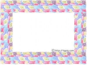 北欧モダン風の色遣いが大人可愛い色鉛筆のモザイク柄の飾り枠のフリー素材;640×480pix