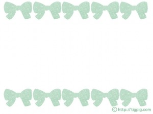 フリー素材:フレーム;森ガール風ミントカラーのりぼんの飾り枠;640×480pix