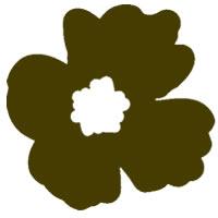 フリー素材:アイコン(twitter可);北欧風のレトロポップな茶色のケシの花;200×200pix