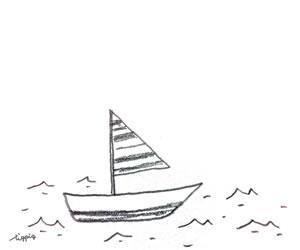 モノトーンの大人可愛いヨットと海の鉛筆画のフリー素材:バナー広告;300×250pix