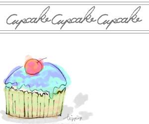 大人可愛いカップケーキとcupcakeの手書き文字のフリー素材:バナー広告;300×250pix