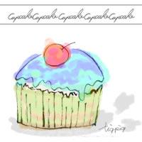 フリー素材:アイコン(twitter可);大人可愛いカップケーキ;200×200pix