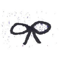 フリー素材:アイコン(twitter可);スタンプみたいな質感の大人可愛いモノトーンのリボン;200×200pix
