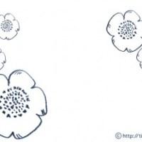 フリー素材:フレーム;北欧風のシンプルな線画が大人可愛いケシの花;640×480pix