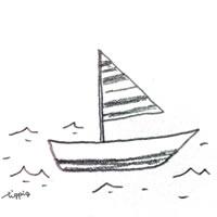フリー素材:アイコン(twitter可);大人可愛い鉛筆画のヨット;200×200pix