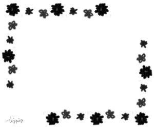 フリー素材:バナー広告;大人可愛いモノトーンの小花のフレーム:300×250pix