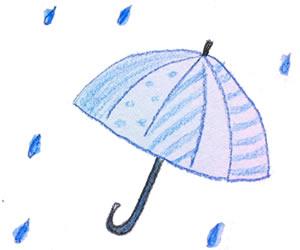 フリー素材:バナー広告;大人可愛い色鉛筆画の傘と雨のしずく:300×250pix