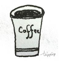 フリー素材:アイコン,背景(twitter可);大人可愛いモノトーンの紙コップのコーヒー;200×200pix