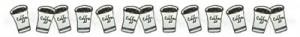 フリー素材:飾り罫;大人可愛いモノトーンの紙コップのコーヒーのライン;400×50pix