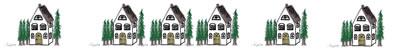 フリー素材:飾り罫;北欧風の針葉樹と大人可愛い家のイラスト;400×50pix