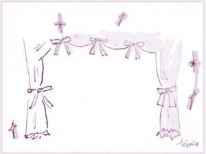 フリー素材:フレーム;大人可愛い紫の舞台幕みたいなカーテンとリボンとキラキラ;640×480pix