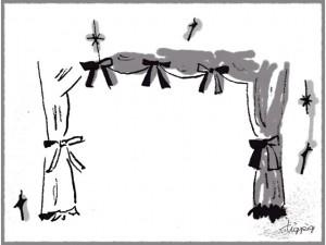 フリー素材:フキダシ;大人可愛いモノトーンの手描きのカーテン;640×480pix