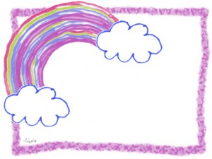 フリー素材:フレーム;ポップな手描き風の虹と雲;640×480pix