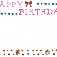 フリー素材:フレーム;HAPPY BIRTHDAYの手書き文字とリボンとプレゼントとドット;640×480pix